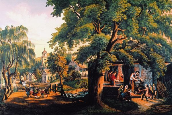 the village blacksmith lithograph 1864 by currier and ives