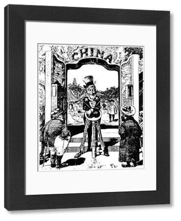 OPEN DOOR CARTOON, 1900.  An American cartoon of 1900 showing Uncle Sam opening China to free trade with the key of American diplomacy while economic competitors England and Russia look
