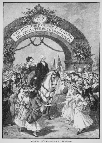 (1732-1799). First President of the United States. Washington's reception at Trenton, New Jersey, 21 April 1789, en route to his inauguration in New York. Wood engraving, 19th century