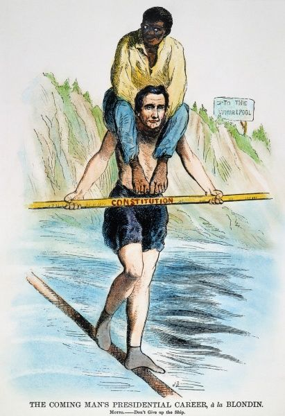 ABRAHAM LINCOLN. An 1860 American cartoon comparing presidential candidate Abraham Lincoln to Charles Blondin, the French acrobat who crossed Niagara Falls on a tightrope ealier that year