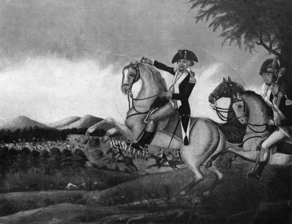 BATTLE OF FALLEN TIMBERS. General Anthony Wayne leading the victorious attack against
