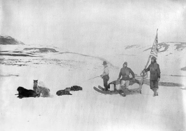 CANADA: EXPEDITION.   Members of the Lady Franklin Bay Expedition, Lieutenant Lockwood and Sergeant Brainard, accompanied by an Eskimo, leaving Fort Conger, Canada. Photograph, c1881-1884