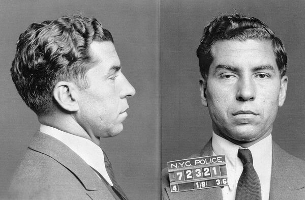 CHARLES 'LUCKY' LUCIANO  (1897-1962). American gangster. Photographed by the New York City Police Department, 1936