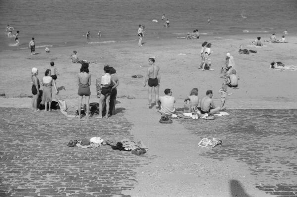 CHICAGO: BEACH, 1941.   The Ohio Street bathing beach on Lake Michigan in Chicago, Illinois. Photograph by John Vachon, July 1941