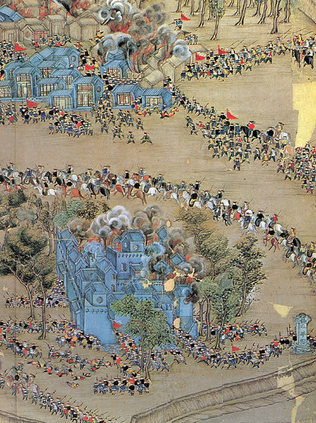 Chinese government forces attacking a rebel stronghold at Tientsin during the Taiping Rebellion, 1851-64. Detail of a contemporary Chinese painting