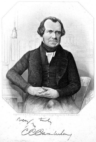 CHURCHILL C. CAMBRELENG (1786-1862). American statesman. Steel engraving, 1842, after a daguerreotype, with autograph signature