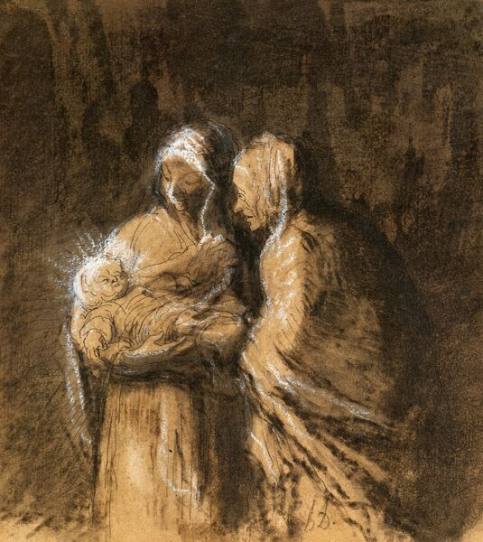 DAUMIER: VIRGIN & CHILD. 'The Virgin Holding the Infant Christ, with Saint Anne.' Pen, wash and chalk drawing by Honor