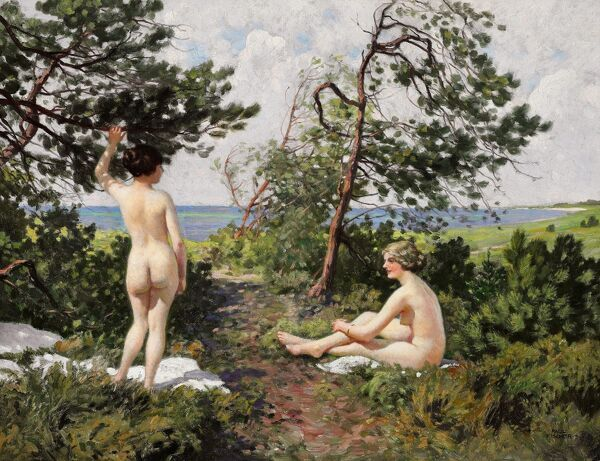 FISCHER: BATHING GIRLS.   'Two Bathing Girls in the Bushes Near the Coast of Hornbaek.' Oil on canvas, Paul Fischer, c1916