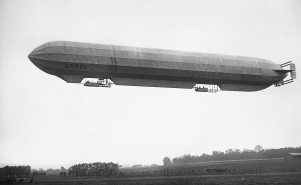 FRENCH MILITARY DIRIGIBLE. French military dirigible 'Spiess' in flight. Early 20th century photogrpah