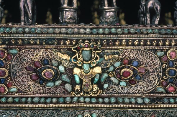 Hindu or Buddhist deity, possibly Garuda. Detail of an Indian chess set, inlaid with precious stones