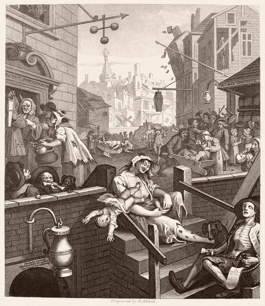 HOGARTH: GIN LANE.  'Beer Street and Gin Lane.' Steel engraving, c1860, after the original by William Hogarth (1697-1764)