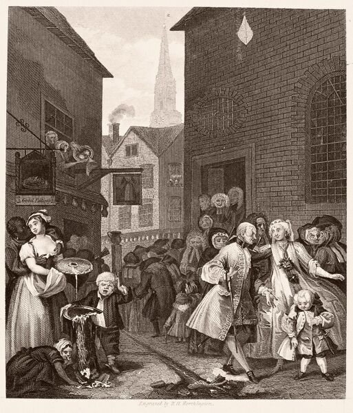 HOGARTH: FOUR TIMES OF DAY. 'Noon.' Steel engraving after the etching and engraving, 1738, by William Hogarth