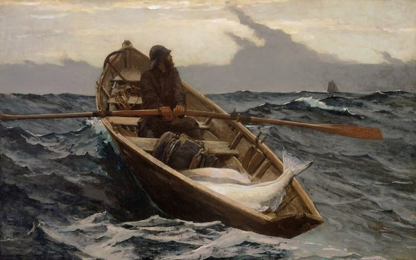 HOMER: FOG WARNING, 1885.   Oil on canvas, Winslow Homer, 1885
