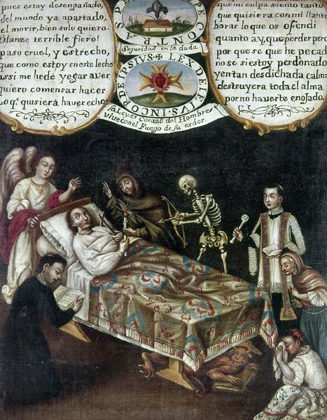 MANUSCRIPT: DEATHBED. Catholic manuscript showing a deathbed scene. Mexican, 18th century