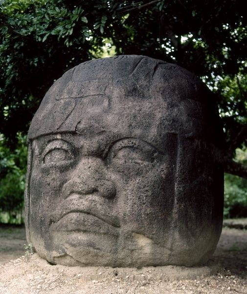 MEXICO: OLMEC HEAD. Olmec colossal head number 2, at Parque La Venta, Tabasco, Mexico, 800-200 B.C