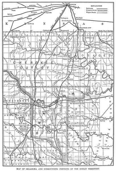 OKLAHOMA MAP, 1889.   Map of Oklahoma and surrounding portions of the Indian Territory, 1889
