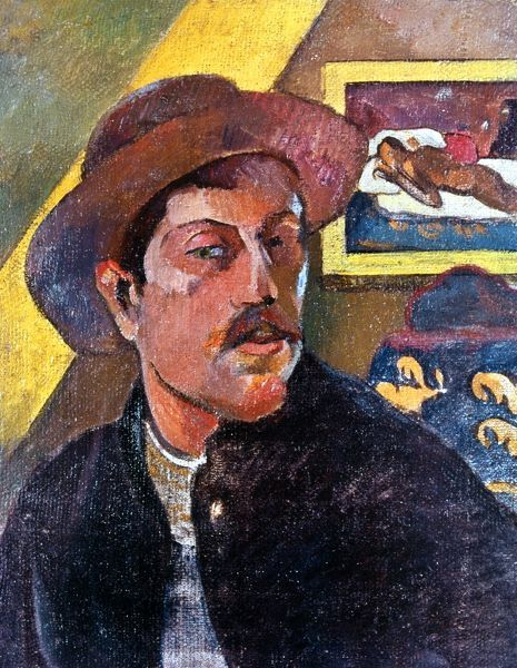 PAUL GAUGIN (1848-1903).  French painter. Self-portrait with a hat. Canvas, 1893