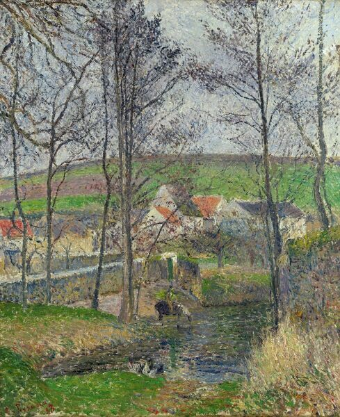 PISSARRO: THE VIOSNE, 1883. 'The Banks of the Viosne at Osny in Grey Weather, Winter