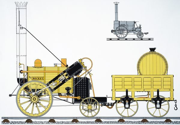 Schematic view of George Stephenson's locomotive 'The Rocket' of 1829