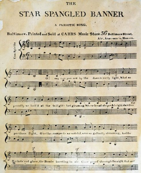 STAR SPANGLED BANNER, 1814. The first page of the first printed sheet music edition of Francis Scott Key's 'The Star Spangled Banner,' Baltimore, 1814. Note the misprint in the subtitle
