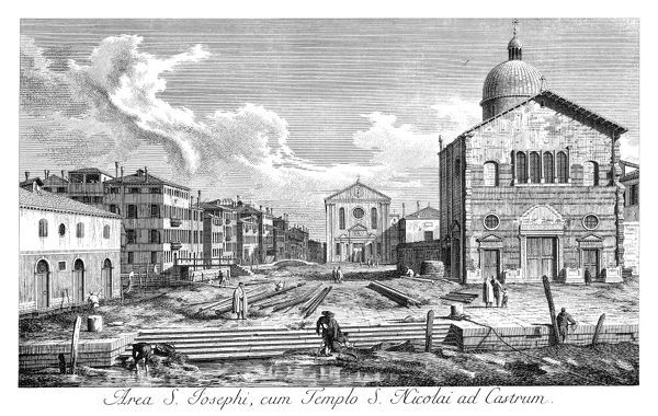 VENICE: CHURCH, 1735.   Church of San Nicolo di Castello in Venice, Italy, with canal Rio di San Giuseppe in foreground and church San Giuseppe di Castello to left-center. Engraving, 1735, by Antonio Visentini after Canaletto