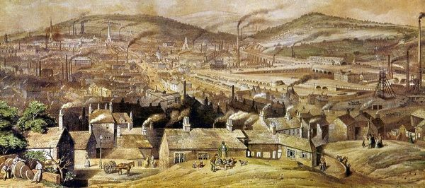View of Sheffield, England. Watercolor, c1854, by William Ibbitt