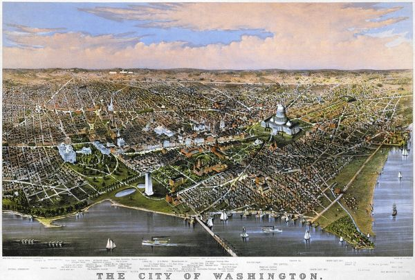 WASHINGTON, D.C., 1880. Bird's-eye view of Washington, D.C., from the Potomac looking north