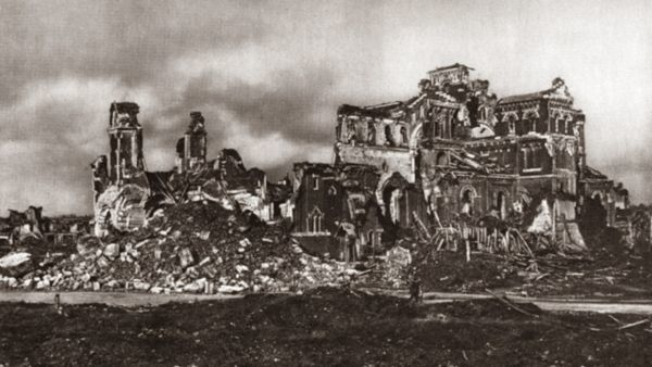 WORLD WAR I: ALBERT CHURCH   Destroyed Church of Notre Dame Des Brebieres at Albert, France. Photograph, c1916