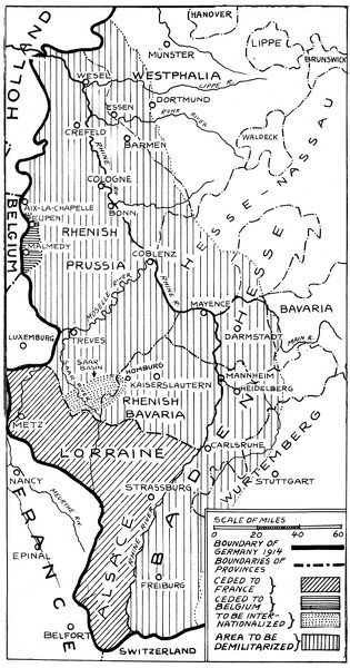 WORLD WAR I: MAP, 1919.   Boundaries of Germany under the Treaty of Versailles including Alsace-Lorraine, The Sarre Coal Basin and small sections around Eupen and Malmedy on the Belgian border. Map, 1919