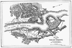 19th century copy of a map, 1780, of West Point on the Hudson River during the American