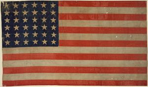 36-STAR U.S. FLAG, c1865. The U.S. flag from between 1864 and 1867
