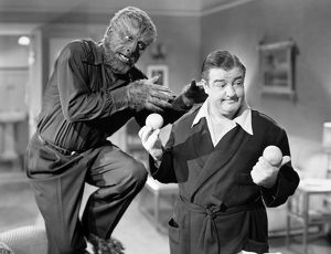 ABBOTT AND COSTELLO. The Wolf Man (Lon Chaney, Jr.) goes after Wilbur (Lou Costello) in 'Abbott