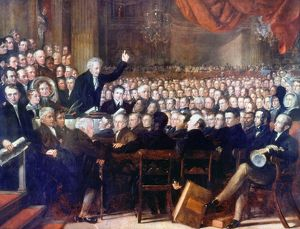 ABOLITION CONVENTION, 1840. The Anti-Slavery Convention at London, 1840. Oil on canvas