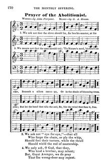 ABOLITIONIST SONG, c1843. Song sheet for 'Prayer of the Abolitionist' by
