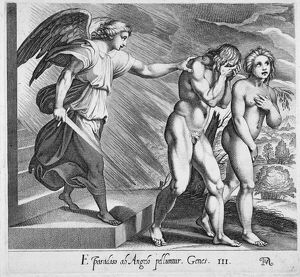 adam eve/adam eve expulsion eden line engraving 17th