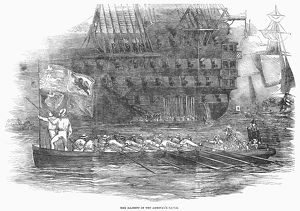 ADMIRAL'S BARGE, 1853. The admiral's barge, with Queen Victoria onboard, passes