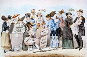'The Age of Brass or the Triumph of Woman's Rights.' Lithograph cartoon satire