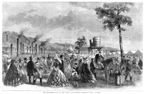 AGRICULTURAL SHOW, 1861. The implement yard at the Royal Agricultural Society's