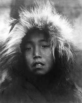 ALASKA: ESKIMO CHILD. Eskimo child wearing a fur hood, Alaska. Photograph, c1905