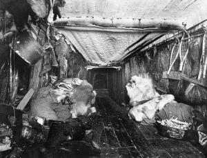 ALASKA: ESKIMO HUT, c1916. A view of the interior of an Eskimo hut in Alaska