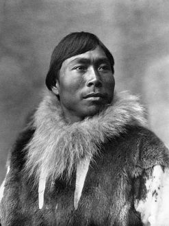ALASKA: ESKIMO MAN, c1903. Eskimo man wearing fur clothing, Alaska