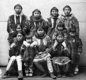 ALASKA: ESKIMOS. A group of Eskimos from Port Clarence, Alaska, brought to the