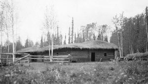 architecture/alaska log cabin log house thatched roof farm