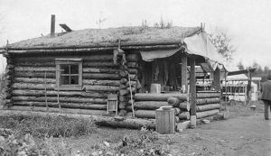 architecture/alaska log cabin small log cabin thatched roof