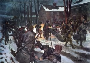 Alexander Hamilton's Company of New York Artillery opening the Battle of Trenton at dawn