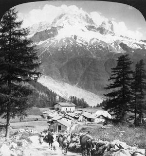 ALPS: AIGUILLE VERTE, c1908. The hamlet of Les Frasserands and the Aiguille Verte