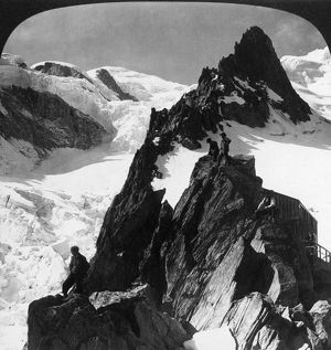 ALPS: MONT BLANC, c1908. Alpinists during the ascent of Mont Blanc. Stereograph, c1908