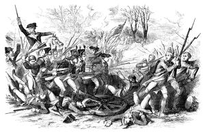 American forces driving the British back with bayonets in the Battle of Cowpens during
