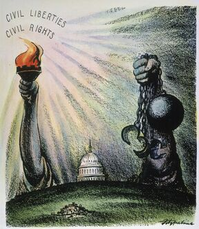'As American Goes, So Goes the World.' American cartoon by D.R. Fitzpatrick