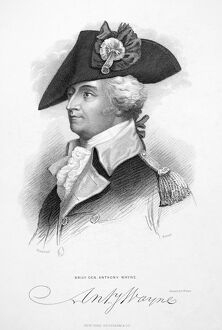 American Revolutionary officer, known as 'Mad Anthony.' Stipple engraving